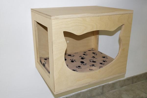 cubo da parete per gatti in tinta legno